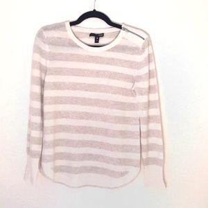 Aqua striped cashmere zip shoulder sweater Medium